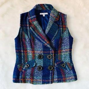 EUC CAbi Plaid Vest Size XS